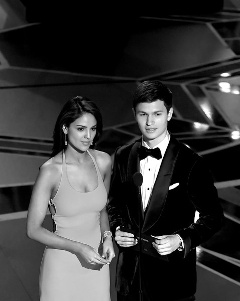 90th Annual Academy Awards - Show [image,photograph,black,suit,formal wear,black-and-white,tuxedo,snapshot,monochrome photography,monochrome,dress,eiza gonzalez,ansel elgort,academy awards,hollywood highland center,california,dolby theatre,show,annual academy awards]