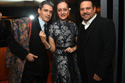 (L-R) Artist Ruben Toledo with fashion designers Isabel Toledo and Narciso Rodriguez at the El Museo Del Barrio Pre-Gala Bash at Omar's on February 29, 2016 in New York City.