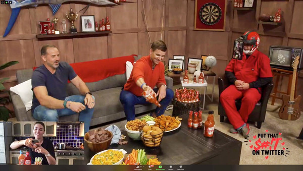 Eli Manning and Frank's RedHot Host Virtual Tailgate [meal,food,dish,fast food,cuisine,brunch,eating,junk food,supper,eli manning,tmhara,shaun o\u00e2,franks redhot host virtual tailgate,meal,cuisine,wing,food,franks redhot,ny,cuisine,meal,recreation]
