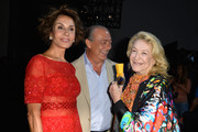 (L-R) Nati Abascal, Fawaz Gruosi and Marta Marzotto attend the Elie Saab show as part of Paris Fashion Week - Haute Couture Fall/Winter 2014-2015 at Pavillon Cambon Capucines on July 9, 2014 in Paris, France.