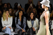 Delilah Belle Hamlin, Chanel Iman and Katie Holmes attend the Ellie Tahari front row during New York Fashion Week: The Showsat Gallery II at Spring Studios on September 05, 2019 in New York City.