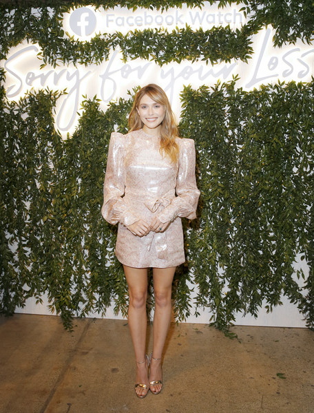Facebook Watch 'Sorry For Your Loss' S2 Premiere [sorry for your loss,white,clothing,shoulder,fashion,lady,skin,leg,dress,pink,joint,watch,elizabeth olsen,s2 premiere,neuehouse hollywood,california,los angeles]