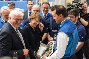 Elke Buedenbender President Steinmeier Visits Trainee Program At BMW