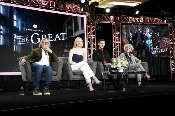 Hulu Panel - Winter TCA 2020 [stage,event,performance,performing arts,tony mcnamara,marian macgowan,nicholas hoult,elle fanning,winter tca,hulu,l-r,pasadena,california,hulu panel,elle fanning,nicholas hoult,the great,photograph,stock photography,image,getty images,hulu]