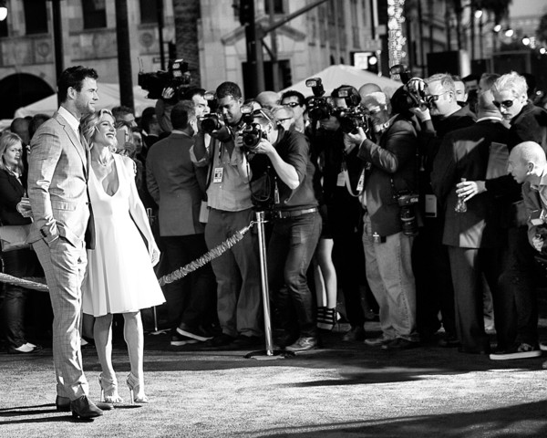 Premiere Of Marvel's 'Avengers: Age Of Ultron' - Arrivals [avengers: age of ultron,image,photograph,white,people,black-and-white,monochrome,crowd,snapshot,standing,street,monochrome photography,chris hemsworth,elsa pataky,arrivals,dolby theatre,california,hollywood,marvel,premiere]