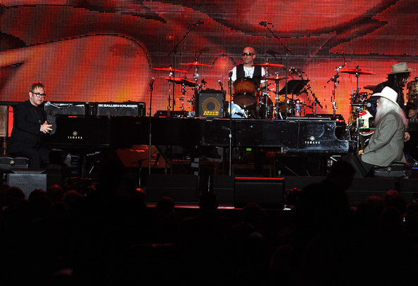 2010 MusiCares Person Of The Year Tribute To Neil Young - Show [elton john,musicares person of the year tribute to,leon russell,neko case,sheryl crow,neil young,stage,performance,entertainment,drums,musician,concert,musical instrument accessory,music,drum,performing arts,neil young - show,los angeles convention center,los angeles,california]
