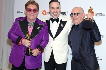 Elton John Bernie Taupin 28th Annual Elton John AIDS Foundation Academy Awards Viewing Party Sponsored By IMDb, Neuro Drinks And Walmart - Arrivals