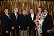 (L-R) Board members Don Hribek and Guy Ringler, MD of the American Fertility Association, Sir Elton John, David Furnish, honorary board member and co-chair actress Brenda Strong and executive director Ken Mosesian of the American Fertility Association attend the American Fertility Association Illuminations LA 2013 honoring Elton John and David Furnish on April 13, 2013 in Beverly Hills, California.