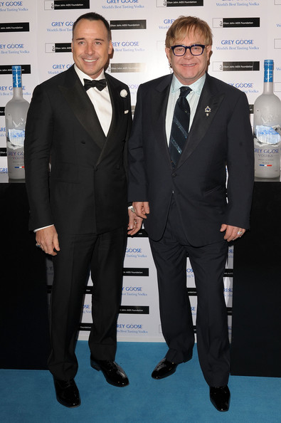 Grey Goose Winter Ball - Arrivals [suit,formal wear,tuxedo,gentleman,flooring,necktie,carpet,white collar worker,businessperson,arrivals,david furnish,elton john,grey goose winter ball,r-l,england,london,battersea park]