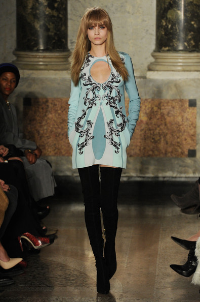 Cara Delevingne walks the runway at the Emilio Pucci fashion show as part of Milan Fashion Week Womenswear Fall/Winter 2013/14 on February 23, 2013 in Milan, Italy.