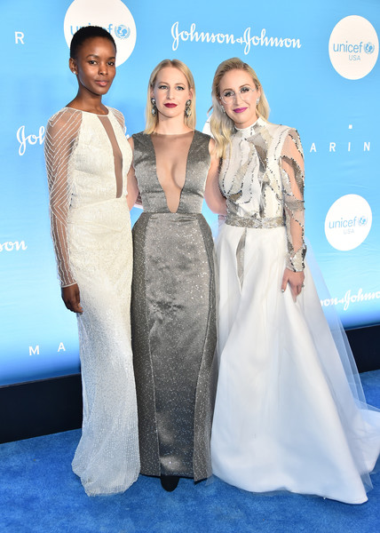 15th Annual UNICEF Snowflake Ball [clothing,dress,fashion,bridal party dress,shoulder,premiere,carpet,gown,hairstyle,fashion model,unicef,new york city,cipriani wall street,snowflake ball,flaviana matata,sterling mcdavid,emily burnett]