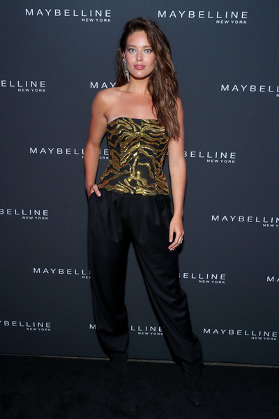 Maybelline New York Fashion Week Party September 2019 [clothing,shoulder,dress,fashion,yellow,hairstyle,strapless dress,fashion model,footwear,premiere,emily didonato,new york city,maybelline new york fashion week,party,party]