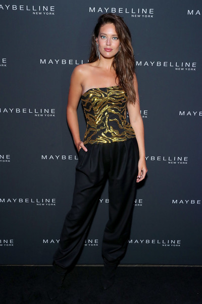 Maybelline New York Fashion Week Party September 2019 [clothing,fashion model,dress,shoulder,hairstyle,fashion,strapless dress,yellow,waist,footwear,emily didonato,new york city,maybelline new york fashion week,party,party]