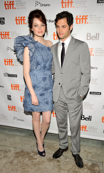 "Actress Emma Stone (L) and actor Penn Badgley attends the ""Easy A"" Premiere held at Roy Thomson Hall during the 35th Toronto International Film Festival on"