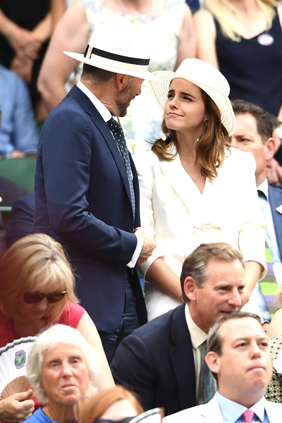 Day Twelve: The Championships - Wimbledon 2018 [people,crowd,product,event,community,headgear,hat,tradition,gesture,audience,england,london,all england lawn tennis and croquet club,wimbledon,john vosler,emma watson]