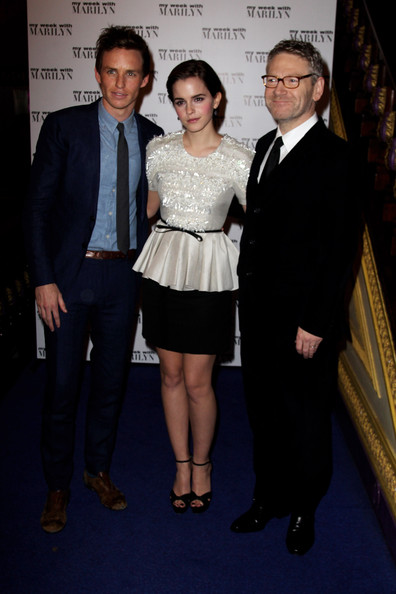 Emma Watson (UK TABLOID NEWSPAPERS OUT) L-R Eddie Redmayne, Emma Watson and Kenneth Branagh attend the UK premiere of My Week with Marilyn at The Cineworld Haymarket on November 20, 2011 in London, United Kingdom.