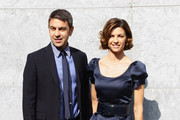 Billy Costacurta (L) and Martina Colombari (R) attend the Emporio Armani show as part of Milan Fashion Week Womenswear Autumn/Winter 2011 on February 26, 2011 in Milan, Italy.