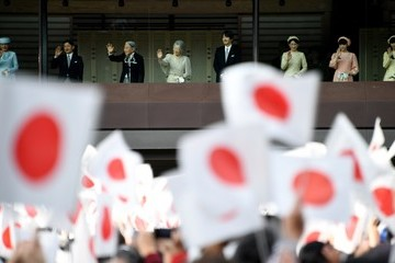 Empress Michiko Japanese Emperor Akihito Waves to Well-Wishers as He Celebrates His 83rd Birthday