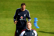 Andrew Flintoff and Steve Harmison in action during the England nets session at the Headingley Carnegie Stadium ahead of the 4th Ashes Test on August 6, 2009 in Leeds, England.