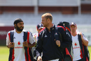 Andrew Flintoff of England has a chat with Monty Panesar of England during the England and Australia nets session at Lords on July 14, 2009 in London, England.