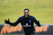Danny Welbeck reacts during an England training session on the eve of their international friendly against the Netherlands at St Georges Park on March 22, 2018 in Burton-upon-Trent, England.