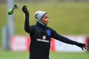Ashley Young takes part in a drill during an England training session on the eve of their international friendly against the Netherlands at St Georges Park on March 22, 2018 in Burton-upon-Trent, England.