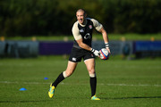 Mike Brown of England releases a pass during a training session at Clifton Rugby Club on September 25, 2018 in Bristol, England.