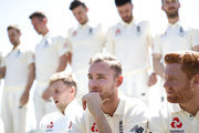 Stuart Broad and Jonny Bairstow of England look on during a team photo before an England nets session at the WACA on November 1, 2017 in Perth, Australia.
