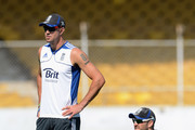 Kevin Pietersen and Matt Prior of England during a nets session at Sardar Patel Stadium on November 13, 2012 in Ahmedabad, India.