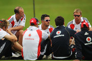 Paul Collingwood of England talks to Kevin Pietersen, Jonathan Trott and his team-mates during an England Nets Session at Centurion Park on December 15, 2009 in Centurion, South Africa.