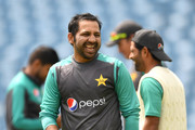 Pakistan captain Sarfraz Ahmed laughs during a nets session at Headingley on May 31, 2018 in Leeds, England.