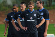 Glen Johnson, John Terry, Steven Gerrard and Andy Carroll look on during the England training session on May 29, 2012 in London Colney, England.