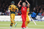 Luke Wright of England celebrates the wicket of Tim Paine of Australia during the 2nd NatWest One Day International between England and Australia at Lord's on September 6, 2009 in London, England.