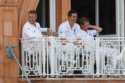 Andrew Flintoff (L) and Kevin Pietersen of England share a joke as Paul Collingwood looks on during day three of the npower 2nd Ashes Test Match between England and Australia at Lord's on July 18, 2009 in London, England.