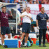 (L-R) Coach Gary Neville, manager Roy Hodgson and physio Gary Lewin of England look on in the first half during the International Friendly match between England and Honduras at Sun Life Stadium on June 7, 2014 in Miami Gardens, Florida.