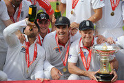 (L-R) Matt Prior, Stuart Broad, Kevin Pietersen and Andrew Strauss of England celebrate the series victory with the Pataudi Trophy during day five of the 4th npower Test Match between England and India at The Kia Oval on August 22, 2011 in London, England.
