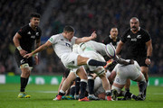 Ben Youngs of England kicks the ball during the Quilter International match between England and New Zealand at Twickenham Stadium on November 10, 2018 in London, United Kingdom.