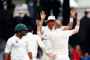 Ben Stokes of England celebrates taking the wicket of Sarfraz Ahmed of Pakistan during day two of the 1st Test match between England and Pakistan at Lord's Cricket Ground on May 25, 2018 in London, England.