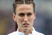 A portrait of Jill Scott of England ahead of the UEFA Women's European Championship Qualifying match between England and Serbia at Adams Park on June 4, 2016 in High Wycombe, England.