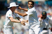 Imran Tahir of South Africa celebrates taking the wicket of Matt Prior of England during day 5 of the 1st Investec Test Match between England and South Africa at The Kia Oval on July 23, 2012 in London, England.