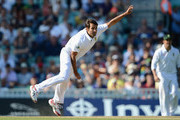 Imran Tahir of South Africa bowls during day four of the 1st Investec Test match between England and South Africa at The Kia Oval on July 22, 2012 in London, England.