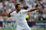 Imran Tahir of South Africa celbrates taking the wicket of Jonny Bairstow of England during day 5 of the 3rd Investec Test Match between England and South Africa at Lord's Cricket Ground on August 20, 2012 in London, England.