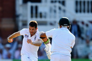 James Anderson of England celebrates bowling out Imran Tahir of South Africa for 1 run during day four of the third Investec test match between England and South Africa at Lord's Cricket Ground on August 19, 2012 in London, England.