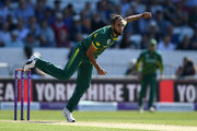 Imran Tahir . of South Africa bowls during the 1st Royal London ODI match between England and South Africa at Headingley on May 24, 2017 in Leeds, England.