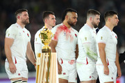 (L-R) Mark Wilson, Ben Spencer, Billy Vunipola, Elliot Daly and Ben Youngs of England look dejected in defeat after the Rugby World Cup 2019 Final between England and South Africa at International Stadium Yokohama on November 02, 2019 in Yokohama, Kanagawa, Japan.