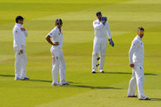 (L-R) Graeme Swann, Alastair Cook, Matt Prior and Kevin Pietersen of England look dejected during day five of the 2nd npower Test Match between England and Sri Lanka at Lord's Cricket Ground on June 7, 2011 in London, England.