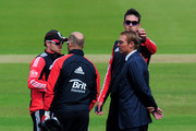 Kevin Pietersen of England plays with Shane Warne's hair as he talks to Ian Bell (L) and Matt Prior during day three of the 3rd npower Test Match between England and Sri Lanka at the Rose Bowl on June 18, 2011 in Southampton, England.