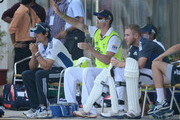 Kevin Pietersen of England speaks with captain Alastair Cook and Stuart Broad during day one of the tour match between Mumbai A and England at The Dr D.Y. Palit Sports Stadium on November 3, 2012 in Mumbai, India.
