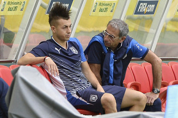 Enrico Castellacci Stephan El Shaarawy Italy Training And Press Conference
