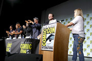 Rodrigo Santoro, Richard Rankin, Ricky Whittle, Colin O'Donoghue, Christopher Meloni, David Harbour and Lynette Rice speak on stage during Entertainment WeeklyÕs ÒBrave New WarriorsÓ Panel at San Diego Comic-Con 2017 at San Diego Convention Center on July 21, 2017 in San Diego, California.